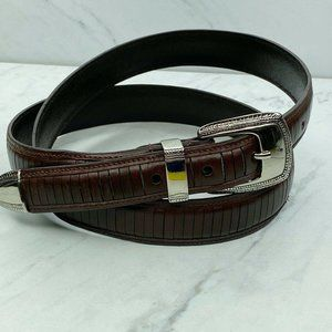 Top Grain Brown Leather Ribbed Textured Belt 42